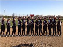"Varsity Softball Team wears orange ribbon and writes ""17"" on their spikes to support Mac Lim!"