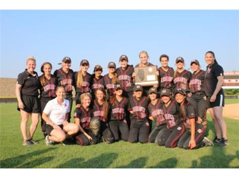 Softball with IHSA Super Sectional Plaque after defeating Downers Grove South 5-4 at Benedictine University June 9, 2015