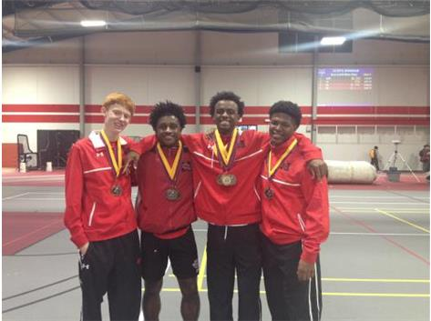 Nate Stinites, Darshon McCullough, Lenell Navarre and Byron Love display medals won at ICOPS Track Meet on February 28, 2016