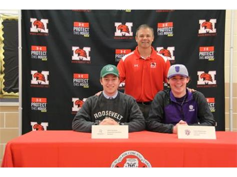 Matt Donahue (Roosevelt University) and Colin Pfotenhauer (Taylor University) with Coach Kevin Sefcik sign Letters of Intent to continue their academic and baseball careers in college