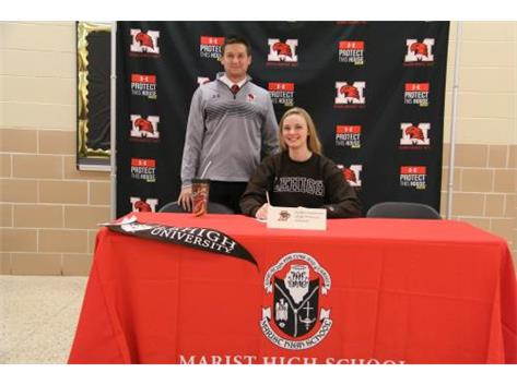 Senior Maddie Dunterman with Coach Jordan Vidovic signs Letter of Intent to continue her academic and volleyball career at Lehigh University
