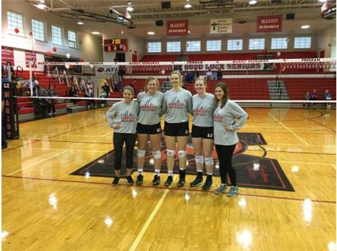 Seniors Kerri DeGarmo, Ryann Horkavy, Maddie Dunterman, Megan Krasowski and Paige Gapski pose for one last picture on Senior Night 2016