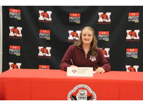Hannah Tapling signs letter of Intent with Texas A & M University to continue her academic and Equestrian career in college on November 9, 2016
