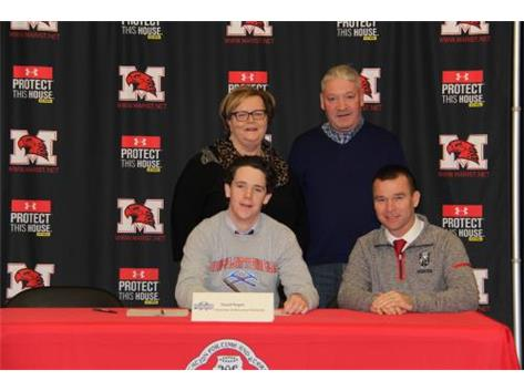 NSD 2017 David Regan with family and Coach Maxwell signing with UW Platteville soccer