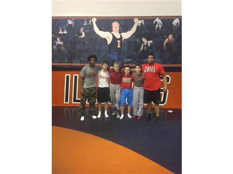 State qualifiers and workout partners getting a practice in at the University of Illinois wrestling room in Huff Hall.
