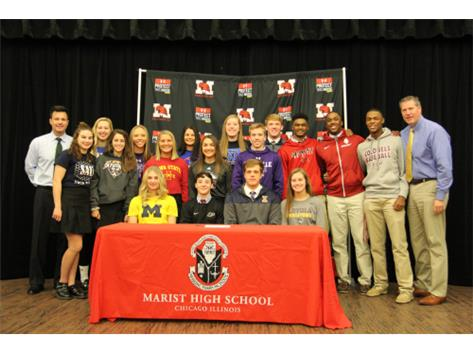 Seated from left: Lexi Voss (softball, University of Michigan), Michael Leveille (wrestling, Purdue University), Justin Janas (baseball, University of Illinois at Urbana), Katie Mather (volleyball, Loyola University Chicago) Standing from left: Molly Sullivan (swimming, St. Ambrose), Cassie Lindmark (softball, University of Kentucky), Maria Castaldo (soccer, University of Tennessee-Martin), Angela Zedak (softball, Northwestern University), Jessica Balich (softball, Iowa State University), Madison Garofalo (softball, University of Wisconsin—Platteville), Kelly Walinski (softball, Northern Illinois University), Mattie McCabe (volleyball, Grand Valley State University), Max Malley (baseball, University of Evansville), Jack Brannigan (baseball, University of Notre Dame), Wendell Smith (baseball, Morehouse College), Jason Hodges (baseball, University of Arkansas), and Kendall Ewell (baseball, Eastern Kentucky University