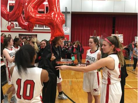 Seniors present Coach Connolly with plaque for 400 wins