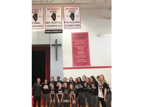 Girls Volleyball raise the 2018 State Championship Banner