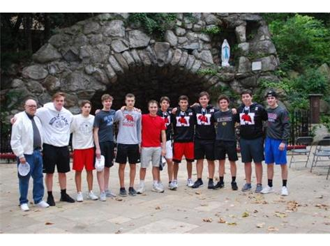 Seniors at the Grotto with Br. Rich