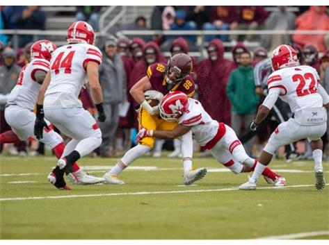 Howard makes the tackle vs Loyola In the RedHawks victory over Loyola October 26, 2019