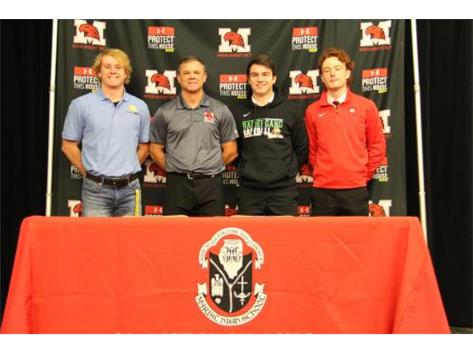 Baseball Players sign NLI November 13, 2019. Left to Right Brett Freiberg, Rock Valley Junior College;Coach Kevin Sefcik; Dane Thomas, Wright State University; and Will O'Boyle, North Central College