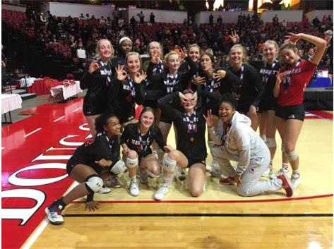 Volleyball celebrates their third place finish at Class 4A State Finals November 16, 2019