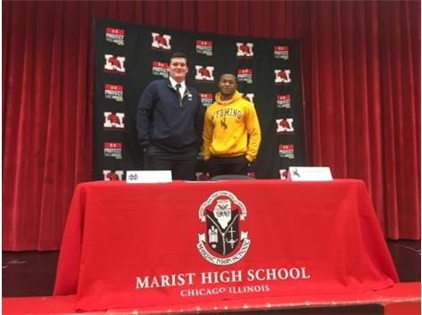 Marist football players signed letters of intent on National Signing Day 2020. Pat Coogan commits to University of Notre Dame and Jovan Marsh commits to University of Wyoming