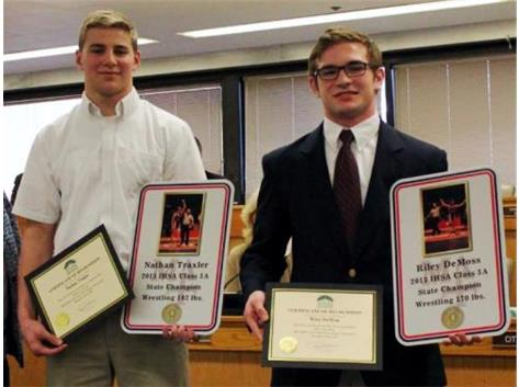 Congratulations to our two State Champions, Riley DeMoss and Nathan Traxler who were honored by the Mayor of Aurora and the Aurora City Council for their championships. What a great honor and award presentation for these two great young men.