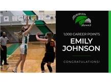 Congratulations Emily Johnson on reaching 1,000 career points!