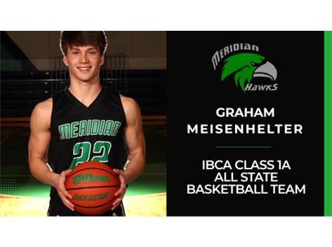 Congratulations to Meridian High School Junior Graham Meisenhelter for making the 2021 Illinois Basketball Coaches Association IBCA Class 1A All State Basketball Team. Hard earned and very deserving! #WeAreMeridian