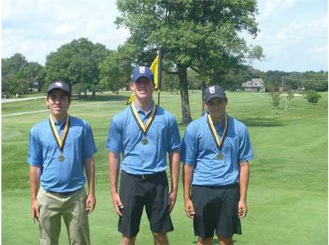 Medalist - Jack Keivan (5th), Michael Rooney (9th), and Nicolas Longo (8th) place at the St.Laurence Boys Varsity Golf Invite.