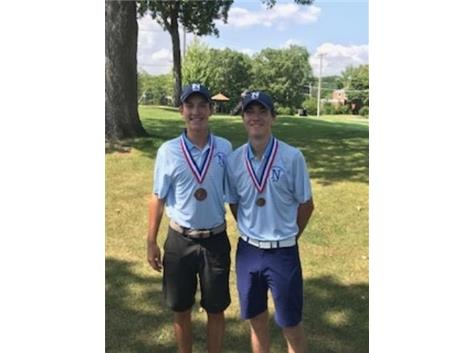 Jonathan Winters (2nd Place} and Billy Brown (6th Place) at St. Laurence Boys Golf Invite