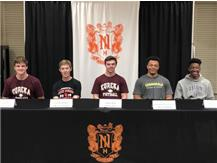 Adam Kraft (Eureka College), Camron Hinman (Lake Forest College), Hunter Kiley (Eureka College), Jermaih Glenn Louis Charles (College of DuPage) & Myles Doggan (Iowa Central College) signign to play football at the collegiate level.
