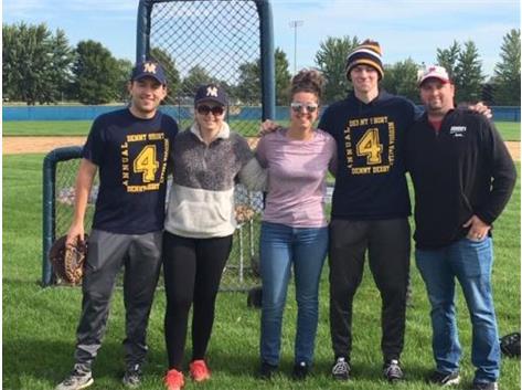 L-R: Sr. Andrew Koopmann, Elyse (Short) Tutt, Brianne Short, Sr. Carter Stubitz, Kirhofer Sports Supporter Sean Lindo