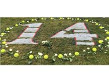 # 14 painted on outfield grass in dedication to Amanda Stanton.