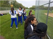 Lady Pirates socializing before game.