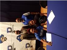 Dee signed with Miami Dade and Kyla with St. Louis. Background Mayor Harvey of Bellwood and Coach PridGeon