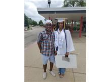 Graduation Day May 23, 2021 Destiny Singleton and Coach P