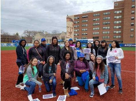 Lady Pirates photo op after a DePaul softball game.