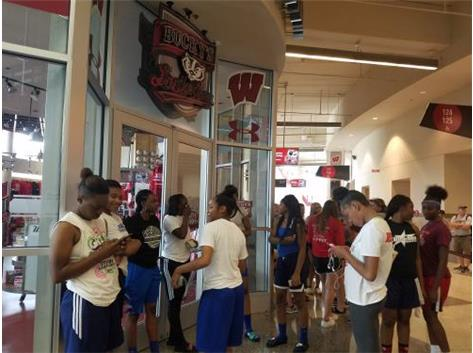 Girls preparing for registration at Team Camp Wisconsin