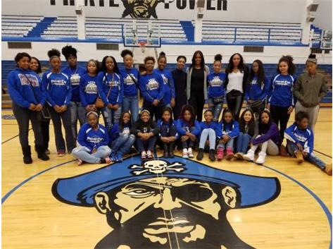 Girl Talk Team Picture with Former East Graduate, Writer, and WNBA Player.