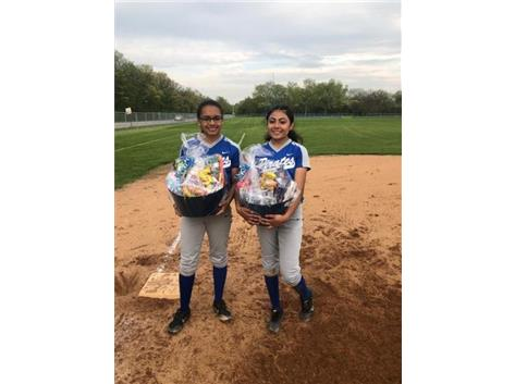 Velez and Duran at 3rd base on Senior Day