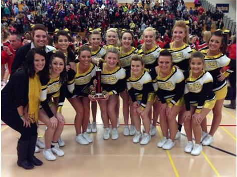 The RCHS Cheerleaders take 2nd place at the Lincoln Way Central Knight's Invite