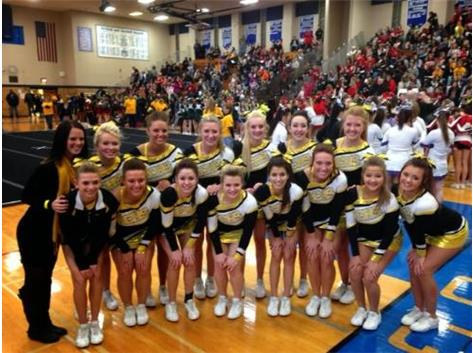 The RCHS Cheerleaders placed 4th at the Riverside Brookfield Sectional earning them a spot in the IHSA State Cheerleading Competition!