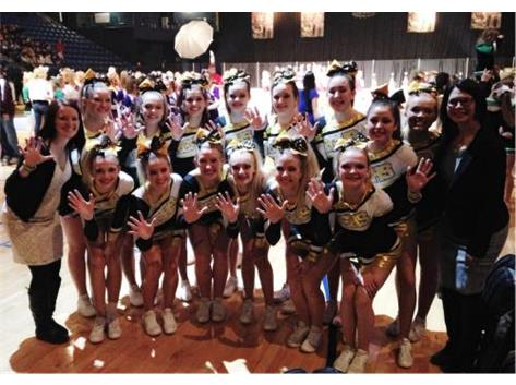 RC Cheer placed 5th at the 2014-2015 IHSA State Competition out of the 25 teams that qualified in their division.
