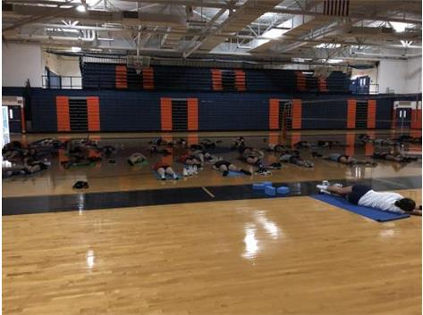 Taking time to take care of our bodies with some yoga. These girls can fall asleep quick.