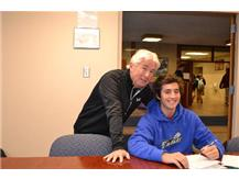 Robert Renner commits to play golf next year at Florida Gulf Coast University.  Shown here with SV Head Golf Coach Jack Halpin.