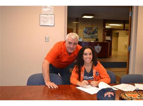 Dana Gattone commits to play golf next year at University of Illinois.  Shown here with SV Head Golf Coach Mick Drewes.