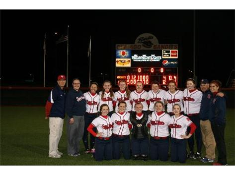 Girls Varsity Softball Team at Chicago Bandits Stadium after 12-4 win over IC Catholic Prep.
