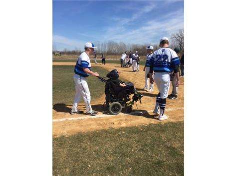 North Star Baseball working with the Bartlett Little League Challengers, a youth baseball program devoted to athletes with special needs.