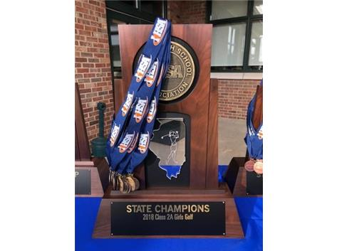 St. Charles North's first ever IHSA State Championship trophy was captured by the Girls Golf Team