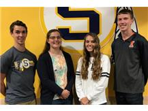 April Scholastic Achievement Honorees (l-r): Andrew Spaulding, Jessica Rahn (Scholar Athletes of the Month), Miranda Williams, Reid Backburn (Students of the Month), not pictured - Brayden Rodriguez (Scholar Performer of the Month)