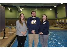 2018 Boys Swimming & Diving Coaches (L-R): Assistant Coach Mary Sue LeMay, Head Coach Kyle Ruiz, Assistant Coach Jamie Ruiz