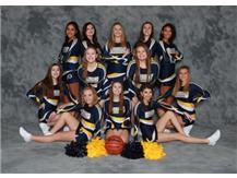 2019-20 Varsity Basketball Cheer Front Row (L-R): Holly Behrens, Madison Morrison, Karsyn Bailey 2nd Row (L-R): Emma Wilson, Whitnie Garriott, Kerrington Bruder, Haleigh Freas 3rd Row (L-R): Aalyah Coronado, Makaley Mikrut, Ashlei Behrens, Brooke Wilson, Jada Rhodes