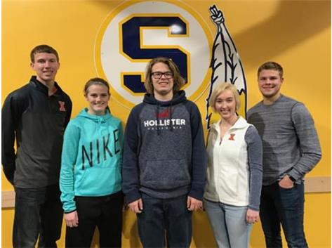 December Scholastic Achievement Honorees (l-r): Reid Blackburn, Cheyenne Harrington (Scholar Athletes of the Month), Gabe Zeigler (Scholar Performer of the Month),  Rachel Spencer, Gage Anderson (Students of the Month)