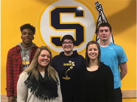 January Scholastic Achievement Honorees (l-r): Dimitric Young, Grace Bauer (Scholar Athletes of the Month), Kelly Suarez (Scholar Performer of the Month),  Abigail Gunderson, Trevor King (Students of the Month)