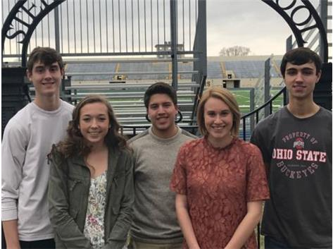 February Scholastic Achievement Honorees (l-r): Zach Kirchhoff, Maegan McCue (Scholar Athletes of the Month), Paul Marruffo (Scholar Performer of the Month),  Madison Heffelfinger, Jonathan 