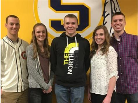 March Scholastic Achievement Honorees (l-r): Turner Morse, Megan Barnhart (Scholar Athletes of the Month), Andrew Valentino (Scholar Performer of the Month),  Kinsey Zacharski, Drew Siegmund (Students of the Month)