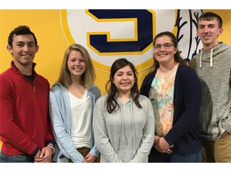 May Scholastic Achievement Honorees (l-r): Elias Edmondson, Carly Hansen (Scholar Athletes of the Month), Xena Trujillo (Scholar Performer of the Month),  Jessica Rahn, Ryan Blackburn  (Students of the Month)