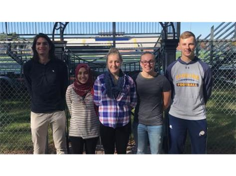September Scholastic Achievement Honorees (l-r): James Roddy & Zama Zaioor; Scholar Performer of the Month: Abby Nitz ; Scholar Athletes of the Month: Kerry Mullen & Trey Morse